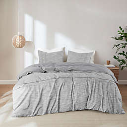 Clean Spaces Dover Organic Cotton Oversized 3-Piece King/California King Duvet Cover Set in Grey