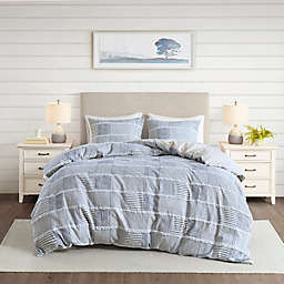 Madison Park® Schafer Cotton Clipped 3-Piece King/California King Duvet Cover Set in Blue