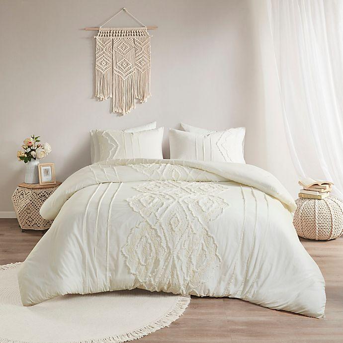 Alternate image 1 for Madison Park® Margot Cotton 3-Piece King/California King Duvet Cover Set in White