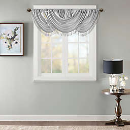 Madison Park Elena Faux Silk Waterfall Embellished Valance in Silver