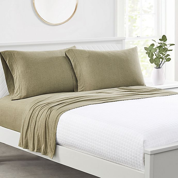 Alternate image 1 for Simply Essential™ Jersey Twin Sheet Set in Olive