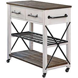 FirsTime® Aurora Farmhouse Kitchen Cart in White/Brown