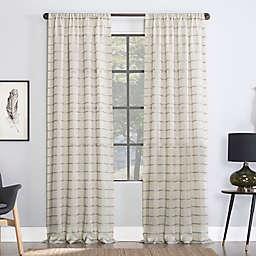 Clean Window® Twill Stripe Anti-Dust Linen Blend Sheer Window Curtain Panel