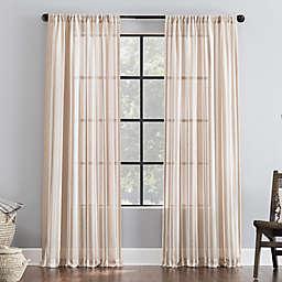 Clean Window® Leno Weave Stripe Anti-Dust Sheer 84-Inch Window Curtain Panel in Pecan