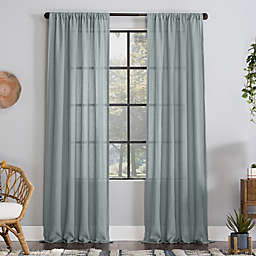Clean Window® Crushed Texture Anti-Dust Sheer Linen Blend Window Curtain Panel