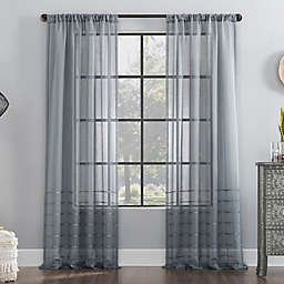 Clean Window® Striped Accent Anti-Dust Sheer Window Curtain Panel