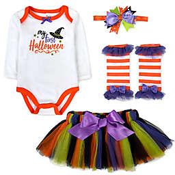 Baby Essentials® 4-Piece Halloween Bodysuit, Tutu, Leg Warmers, and Headband Set