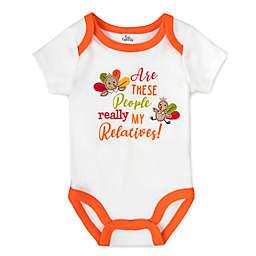 Baby Essentials® Thanksgiving Relatives Short Sleeve Bodysuit in White/Orange