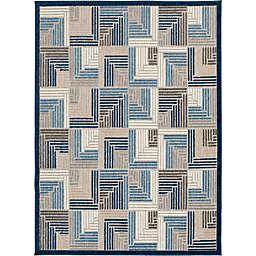 Truros 6'7 x 9'2 Indoor/Outdoor Area Rug in Grey/Blue