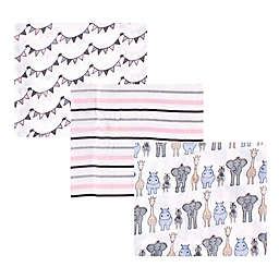 Hudson Baby® 3-Pack Safari Cotton Muslin Swaddle Blankets in Pink