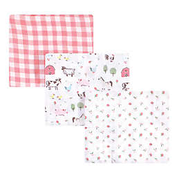 Hudson Baby® 3-Pack Farm Girl Cotton Muslin Swaddle Blankets in Pink