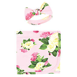 Touched by Nature® Size 0-12M Rose Peony Organic Cotton Swaddle and Headband Set in Pink