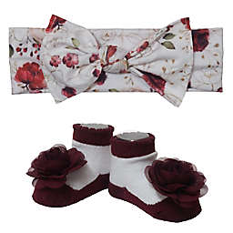 So 'dorable Size 0-12M 2-Piece Floral Bow Headwrap and Bootie Set in Ivory