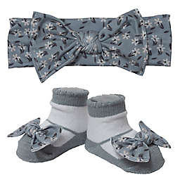 So 'dorable Size 0-12M 2-Piece Floral Bow Headband and Bootie Set in Light Grey