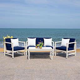 Safavieh Montez 4-Piece Wood Patio Furniture Set in White/Navy