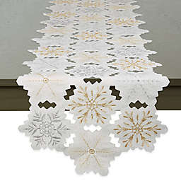 DII® Embroidered Snowflakes 108-Inch Table Runner in White