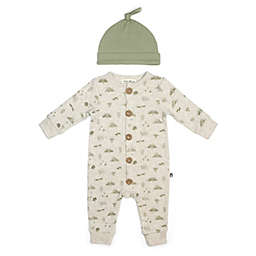 Rabbit+Bear Size 6-9M 2-Piece Forest Friends Organic Cotton Coverall and Cap Set in Khaki