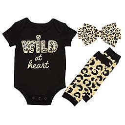 Baby Starters® 3-Piece Wild Cheetah Bodysuit, Legwarmer, and Headband Set in Black
