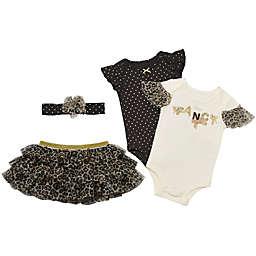 Baby Starters® 4-Piece Fancy Leopard Bodysuit, Tutu and Headband Set in Black/Cream