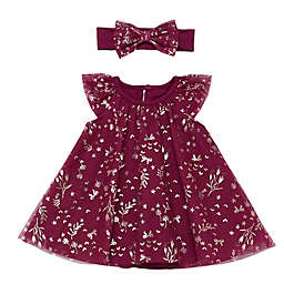 Baby Starters® 2-Piece Floral Dress and Headband Set in Burgundy