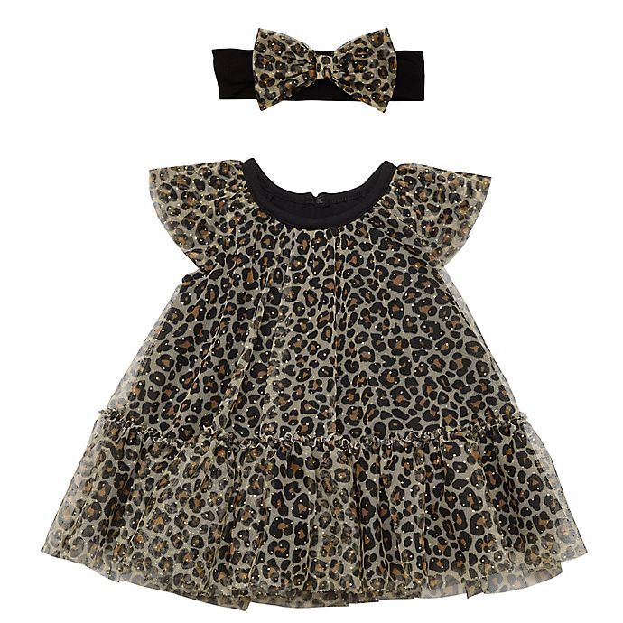 Alternate image 1 for Baby Starters® 2-Piece Leopard Dress and Headband Set in Black