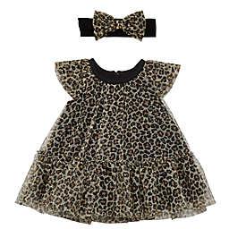 Baby Starters® 2-Piece Leopard Dress and Headband Set in Black