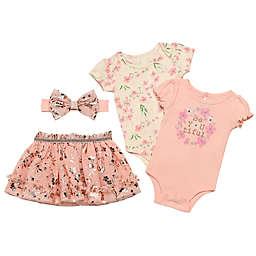 Baby Starters® 4-Piece BeYoutiful Bodysuit, Tutu and Headband Set in Pink/Rose Gold