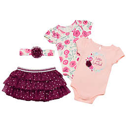 Baby Starters® 4-Piece Little and Loved Bodysuit, Tutu and Headband Set in Pink