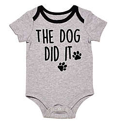 """Baby Starters® BWA® """"The Dog Did It Bodysuit"""" in Grey"""