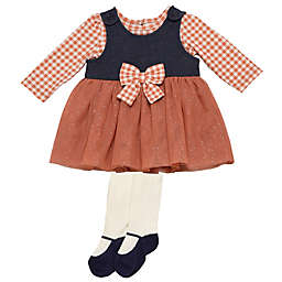 Baby Starters® 3-Piece Dress, Top, and Tight Set in Black/Red