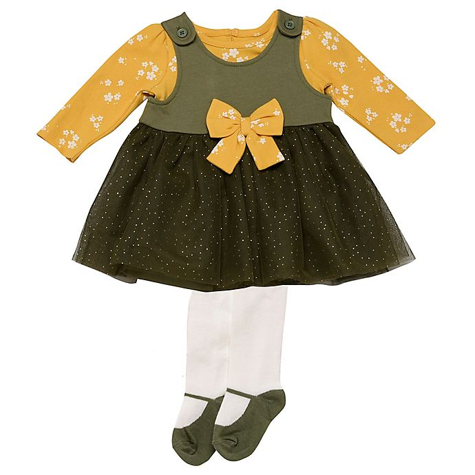 Alternate image 1 for Baby Starters® 3-Piece Dress, Top, and Tight Set in Black/Mustard