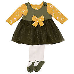 Baby Starters® 3-Piece Dress, Top, and Tight Set in Black/Mustard