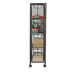 Mind Reader 4-Drawer Rolling File Cabinet in Black