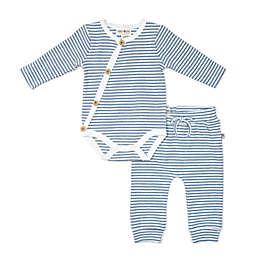 Rabbit+Bear Size 6-9M 2-Piece Stripe Kimono Bodysuit and Pant Set in Blue