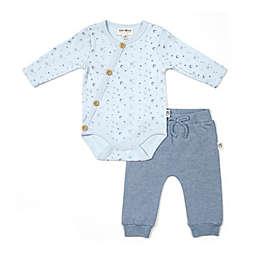 Rabbit+Bear Size 6-9M 2-Piece Star Print Kimono Bodysuit and Pant Set in Blue