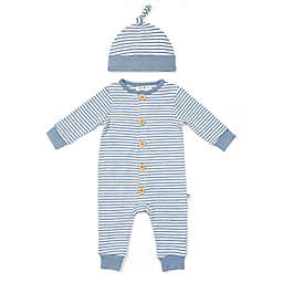 Rabbit+Bear Size 6-9M 2-Piece Striped Organic Cotton Coverall and Cap Set in Blue/Ivory
