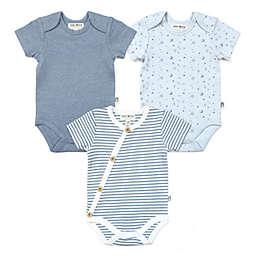 Rabbit+Bear Size 6-9M 3-Pack Organic Cotton Short Sleeve Bodysuits in Multi/Blue
