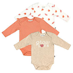 Rabbit+Bear Size 3-6M 3-Pack Long Sleeve Bodysuits in Rust