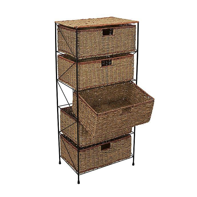 Alternate image 1 for Household Essentials® Seagrass/Rattan 5 Drawer Storage Unit