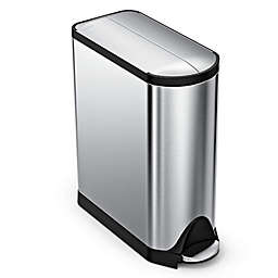 simplehuman® Brushed Stainless Steel Fingerprint-Proof Butterfly 45-Liter Step Trash Can