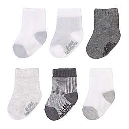 Fruit of the Loom® 6-Pack Grow and Fit with Me Crew Socks in Grey