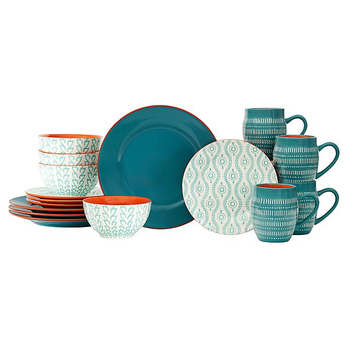Alternate image 1 for Baum Tangiers 16-Piece Dinnerware Set in Turquoise