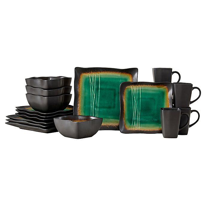 Alternate image 1 for Baum Galaxy Square 16-Piece Dinnerware Set in Jade