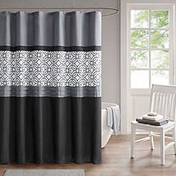 510 Design Donnell Embroidered and Pieced Shower Curtain in Black/Gray