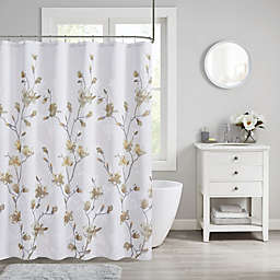 Madison Park Magnolia Floral Printed Burnout Shower Curtain in Yellow
