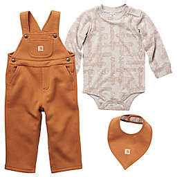Carhartt® Long Sleeve Printed Bodysuit, Overall and Bib Set in Brown