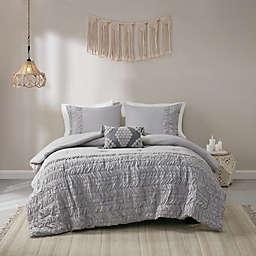 Madison Park Doreen Cotton 4-Piece Full/Queen Comforter Set in Grey