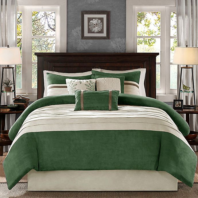 Alternate image 1 for Madison Park Palmer 7-Piece Queen Comforter Set in Green