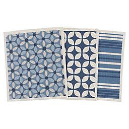 Simply Essential™ Geo Swedish Dish Cloths in Navy/Light Blue (Set of 3)