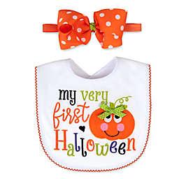 Baby Essentials 2-Piece First Halloween Bib and Headband Bow Set in White